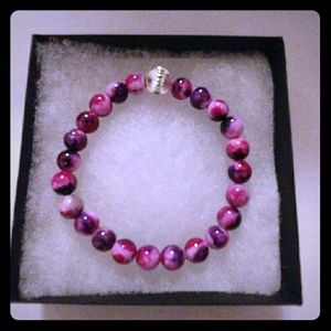 Jewelry - Pink & Purple Jade Stone Bracelet